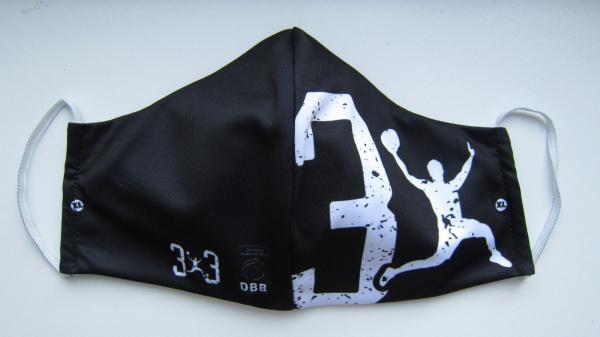 """Mehrweg - Mund-Nasen-Maske schwarz """"3x3"""""""