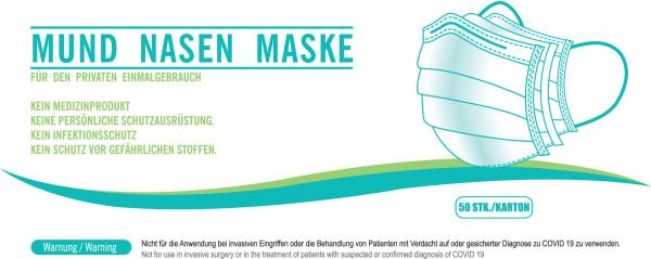 Einwegmaske - Mund-Nasen-Maske (50er Packung)